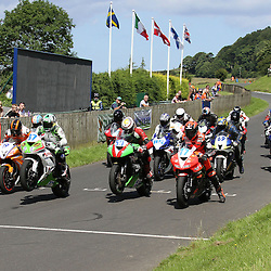 (c) STEPHEN LAWSON | StockPix.eu. (19) Ryan Farquhar, (59) Ivan Linton, (37) Robert Wilson and (19) Dave Hewson make up the front row at the start of Race 1, Heat 1 at The Cock o' The North Continental Road Races being held at Olivers Mount, Scarborough.