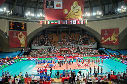 10.09.2014, Centennial Hall, Breslau, POL, FIVB WM, Kuba vs Kanada, 2. Runde, Gruppe F, im Bild prezentacja hymn // presentation anthem during the FIVB Volleyball Men's World Championships 2nd Round Pool F Match beween Cuba and Canada at the Centennial Hall in Breslau, Poland on 2014/09/10. EXPA Pictures © 2014, PhotoCredit: EXPA/ Newspix/ Sebastian Borowski<br /> <br /> *****ATTENTION - for AUT, SLO, CRO, SRB, BIH, MAZ, TUR, SUI, SWE only*****
