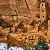 Square Tower House cliff dwelling.  Mesa Verde National Park. Image taken with a Nikon D3 camera and 80-400 mm VR lens (ISO 200, 80 mm, f/4.5. 1/200 sec).