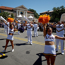 Oct 2, 2010; Baton Rouge, LA, USA; LSU Tigers cheerleaders perform during the march down Victory Hill prior to kickoff of a game between between the LSU Tigers and the Tennessee Volunteers at Tiger Stadium.  Mandatory Credit: Derick E. Hingle
