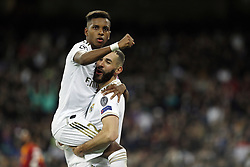 November 6, 2019, Madrid, Spain: Real Madrid CF's Rodrygo Goes and Real Madrid CF's Karim Benzema celebrates after scoring a goal during the UEFA Champions League match between  Real Madrid and Galatasaray SK at the Santiago Bernabeu in Madrid. (Credit Image: © Manu Reino/SOPA Images via ZUMA Wire)
