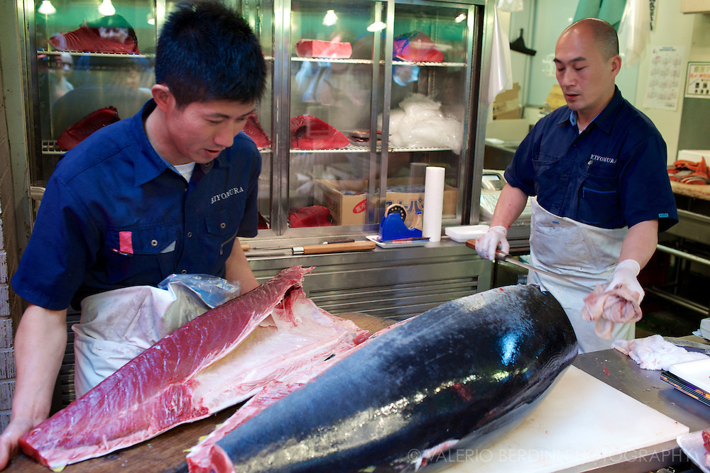 The tuna quarters are then shelved for further cutting. Tsukiji  Market. Tokyo, Japan 2013.