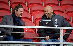 LIVERPOOL, ENGLAND - Tuesday, December 9, 2014: Former Liverpool players Steve McManaman and Rob Jones during the UEFA Youth League Group B match between Liverpool and FC Basel at Langtree Park. (Pic by David Rawcliffe/Propaganda)