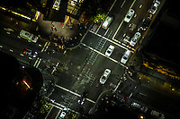 Aerial shot looking down at commuters going about their business in Sydney, Australia.