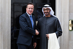 © Licensed to London News Pictures. 02/07/2015. London, UK.British Prime Minister, DAVID CAMERON greets Crown Prince, MOHAMMED BIN ZAYED AL NAHYAN of Abu Dhabi in Downing Street, London today. Photo credit : Vickie Flores/LNP