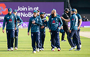 Picture by Allan McKenzie/SWpix.com - 19/05/2019 - Sport - Cricket - 5th Royal London One Day International - England v Pakistan - Emerald Headingley Cricket Ground, Leeds, England - England's Eoin Morgan leads his side off the field after victory over Pakistan in the Royal London One Day Series.