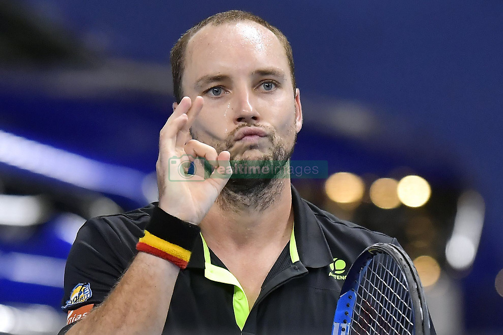 October 19, 2017 - Anvers, Belgique - ANTWERP, BELGIUM - OCTOBER 19 :   Steve Darcis (BEL) reacts during his second round match against David Ferrer (ESP) on day 5 of the European Open on October 19, 2017 in Antwerp, Belgium, 19/10/2017 (Credit Image: © Panoramic via ZUMA Press)