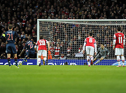 Bayern Munich's David Alaba drags his penalty wide - Photo mandatory by-line: Joe Meredith/JMP - Tel: Mobile: 07966 386802 19/02/2014 - SPORT - FOOTBALL - London - Emirates Stadium - Arsenal v Bayern Munich - Champions League - Last 16 - First Leg
