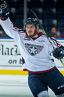 KELOWNA, CANADA - OCTOBER 27: Parker AuCoin #32 of the Tri-City Americans celebrates a first period goal against the Tri-City Americans on October 27, 2017 at Prospera Place in Kelowna, British Columbia, Canada.  (Photo by Marissa Baecker/Shoot the Breeze)  *** Local Caption ***