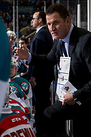 KELOWNA, CANADA - JANUARY 19: Kelowna Rockets' head coach Adam Foote stands on the bench against the Prince Albert Raiders  on January 19, 2019 at Prospera Place in Kelowna, British Columbia, Canada.  (Photo by Marissa Baecker/Shoot the Breeze)