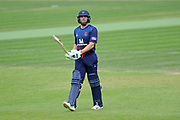 Jake Lehmann of Lancashire walks off as he is dismissed by Liam Dawson  during the Royal London One Day Cup semi-final match between Hampshire County Cricket Club and Lancashire County Cricket Club at the Ageas Bowl, Southampton, United Kingdom on 12 May 2019.