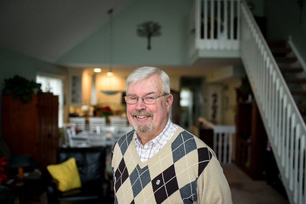 Sea Isle City, New Jersey - January 17, 2017: Ed McFadden, 66, in his Sea Isle City, New Jersey home. He and his wife retired to the Jersey Shore resort town, despite the Garden State's high taxes and housing costs, which is traditionally seen as one of the worst or retirees. A tax change signed into law last year aims to ease the cost burden for New Jersey retirees by increasing the amount of retirement income excluded from income tax. McFadden, who receives a pension, estimated the change will eventually save him $200 to $300 each year.<br /> <br /> <br /> CREDIT: Matt Roth for AARP