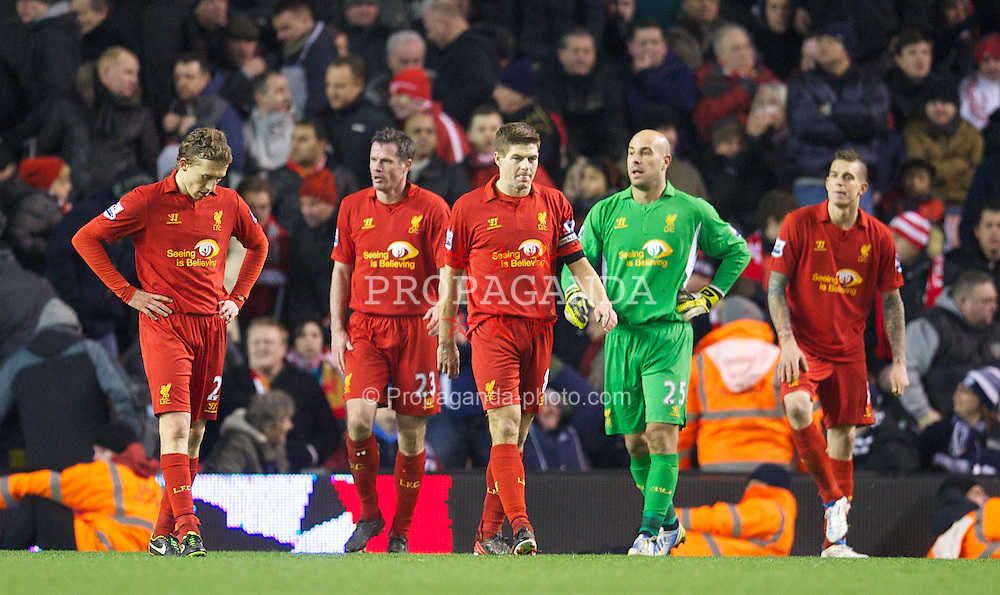 LIVERPOOL, ENGLAND - Monday, February 11, 2013: Liverpool's Lucas Leiva, Jamie Carragher, captain Steven Gerrard, goalkeeper Jose Reina and Daniel Agger look dejected as West Bromwich Albion score the second goal during the Premiership match at Anfield. (Pic by David Rawcliffe/Propaganda)