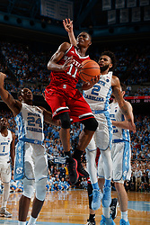 CHAPEL HILL, NC - JANUARY 27: Markell Johnson #11 of the North Carolina State Wolfpack goes to the basket against the North Carolina Tar Heels on January 27, 2018 at the Dean Smith Center in Chapel Hill, North Carolina. North Carolina lost 95-91. (Photo by Peyton Williams/UNC/Getty Images) *** Local Caption *** Markell Johnson