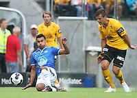 tippeliga, eliteserie, fotball, start, molde, 03.august, 2014<br />Etzaz Hussain, Molde<br />Alexander Lind, Start<br /><br />Foto: Ole Fjalsett