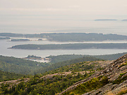 View of Seal Cove and the Cranberry Islands from atop Cadillac Mountain, Acadia National Park, Maine, USA.