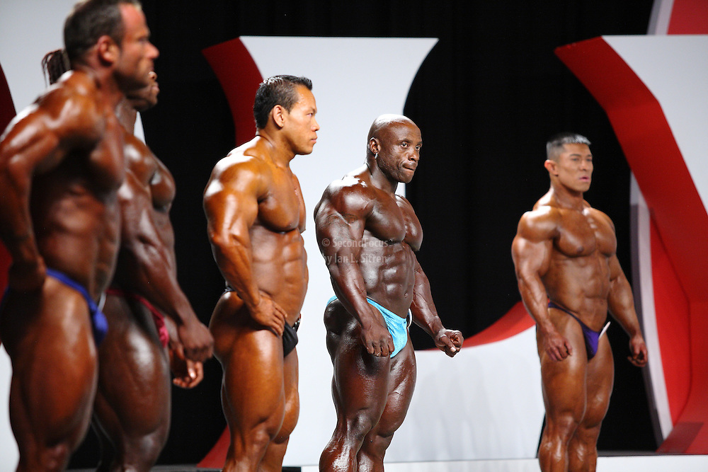 On stage at the pre-judging for the 2009 Olympia 202 competition in Las Vegas..Jason Arntz, Kris Dim, Charles Dixon, Daryl Gee
