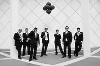 modern groomsmen at a palmsprings wedding, classic contemporary lines,