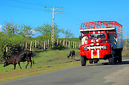 Truck on the coast road west of  Santiago de Cuba, Cuba.