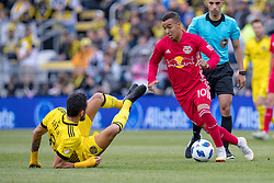 November 4, 2018 - Columbus, OH, U.S. - COLUMBUS, OH - NOVEMBER 04: New York Red Bulls midfielder Alejandro Romero Gamarra (10) pushes past Columbus Crew midfielder Artur (8) in the MLS eastern conference semifinals game between the Columbus Crew SC and the New York Red Bulls on November 04, 2018 at Mapfre Stadium in Columbus, OH. (Photo by Adam Lacy/Icon Sportswire) (Credit Image: © Adam Lacy/Icon SMI via ZUMA Press)