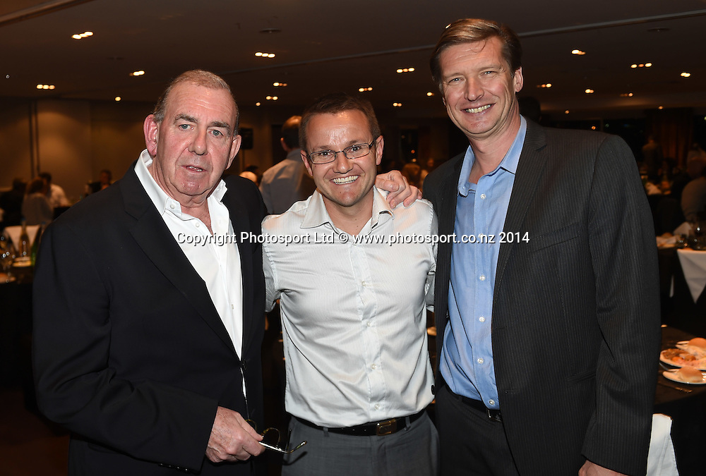 MC Ian Fraser, Black Caps coach Mike Hesson and High Performance Sport New Zealand Chief Executive Alex Baumann at the HPNZ Coach Recognition Dinner, Waipuna Lodge, Auckland, New Zealand. Thursday 2 October 2014. Photo: Andrew Cornaga / www.photosport.co.nz