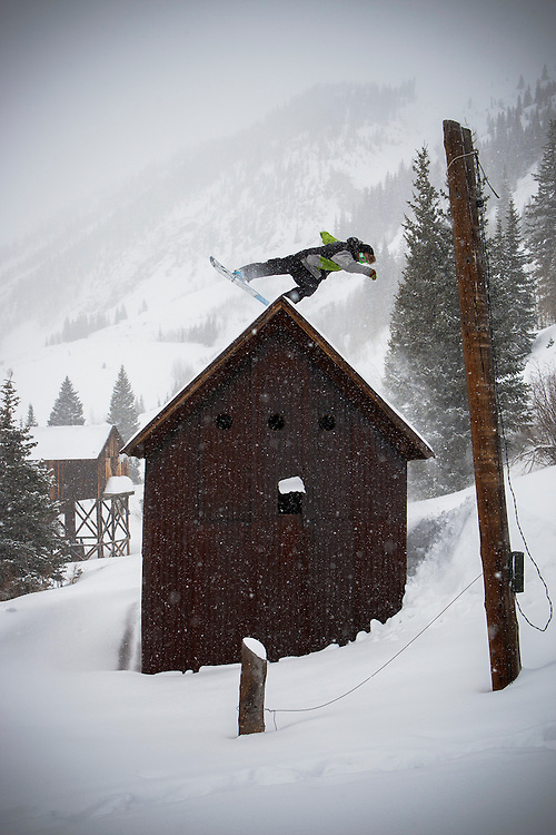 Angus Leith & old mining shack, Silverton, Colorado.
