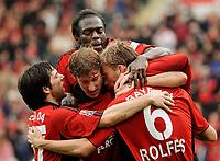 Fotball<br /> Bundesliga Tyskland<br /> 13.04.2008<br /> Foto: Witters/Digitalsport<br /> NORWAY ONLY<br /> <br /> Jubel 1:0 v.l. Gonzalo Castro, Stefan Kiessling, Hans Sarpei, Simon Rolfes<br /> Bundesliga Bayer 04 Leverkusen - VfB Stuttgart
