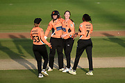 Tash Farrant, Carla Rudd, Stafanie Taylor and Amanda-Jade Wellington of Southern Vipers celebrate the wicket of Georgie Boyce during the Women's Cricket Super League match between Southern Vipers and Lancashire Thunder at the 1st Central County Ground, Hove, United Kingdom on 15 August 2019.