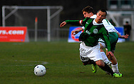 20 NOV. 2010 -- FENTON, Mo. -- St. Mary's High School soccer player Jacob Wieser (17) collides with Smithville High School's Troy Williams (11) during the MSHSAA Class 2 soccer championship game between St. Mary's and Smithville High School at the Anheuser-Busch Center in Fenton, Mo. Saturday, Nov. 20, 2010. St. Mary's best Smithville 3-1 to win the state title. Image © copyright 2010 Sid Hastings.