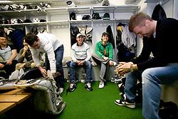 Anze Ropret,  Ales Sila and Andrej Hocevar at first practice of Slovenian National Ice hockey team before World championship of Division I - group B in Ljubljana, on April 5, 2010, in Hala Tivoli, Ljubljana, Slovenia.  (Photo by Vid Ponikvar / Sportida)