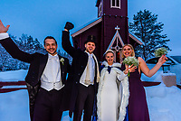 The bride and groom celebrate with best man and maid of honor after wedding ceremony at Plassen Church, Trysil, Norway.