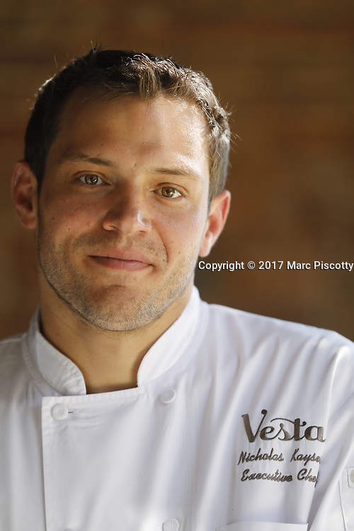 SHOT 5/12/17 4:56:00 PM - Vesta menu items and cocktails at the downtown Denver institution that is celebrating 20 years in business. Bold flavors, inspired dishes, an intimate setting and expertly crafted cocktails make Vesta Denver's go-to dining destination.  Includes images of owner Josh Wolkon and his wife as well as Vesta's new Executive Chef Nicholas Kayser. (Photo by Marc Piscotty / © 2017)