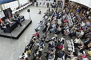 Garden City, New York, USA. 26th May 2015. JAY JACOBS, Chairman of the Nassau County Democrats, speaks at the podium to vast audience during the party nominating convention, held at the Cradle of Aviation museum atrium, Long Island. The executive committee nominated 55 candidates for political and judicial races.