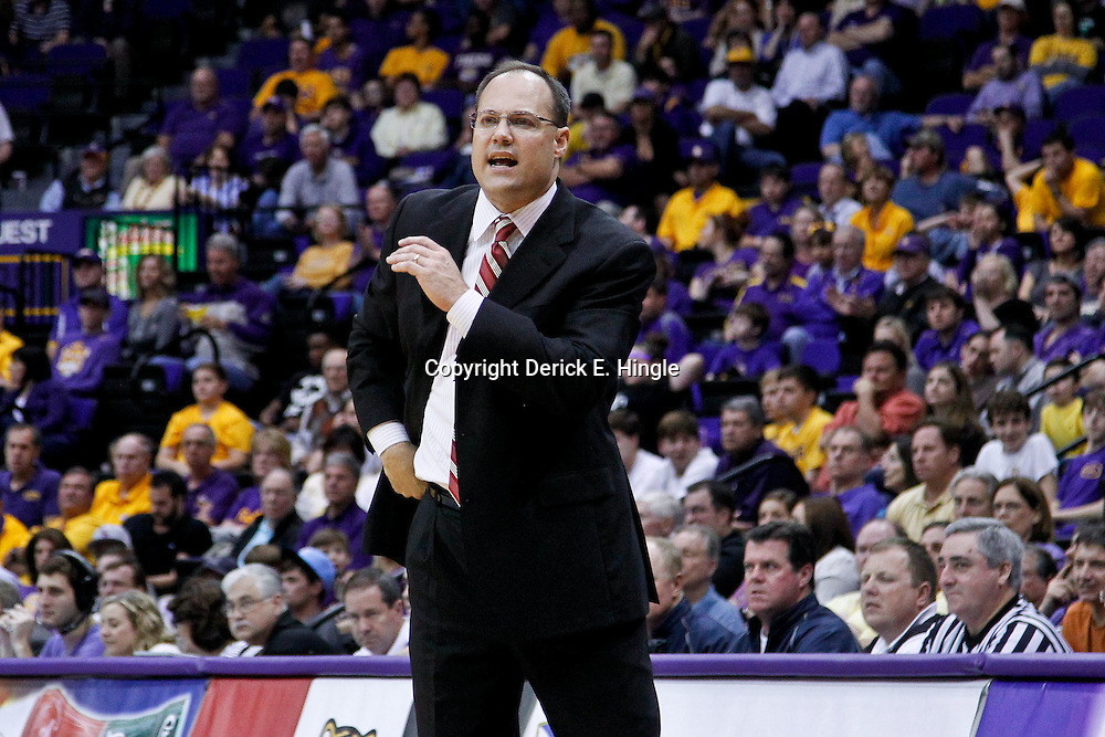 February 22, 2012; Baton Rouge, LA; Georgia Bulldogs head coach Mark Fox against the LSU Tigers during the second half of a game at the Pete Maravich Assembly Center. LSU defeated Georgia 61-53. Mandatory Credit: Derick E. Hingle-US PRESSWIRE