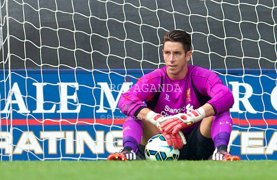 PRESTON, ENGLAND - Saturday, July 19, 2014: Liverpool's goalkeeper Brad Jones looks dejected as Preston North End score the opening goal during a preseason friendly match at Deepdale Stadium. (Pic by David Rawcliffe/Propaganda)