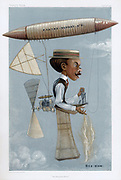 Alberto Santos-Dumont (1873-1932) Brazilian aviation pioneer. Here in his airship (dirigible) No. 6 in which he won the Deutsch Prize in 1901. Cartoon from 'Vanity Fair', London, 14 November 1901.