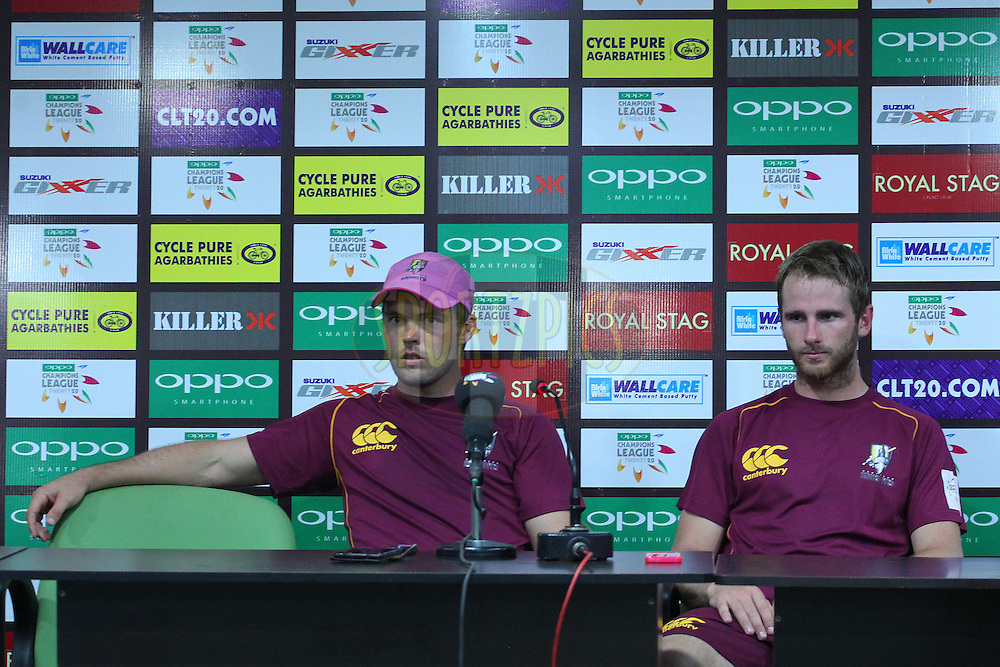 Daniel FLYNN (Captain) and Kane Williamson address the media during the qualifier 1 match of the Oppo Champions League Twenty20 between the Northern Knights and the Southern Express held at the Chhattisgarh International Cricket Stadium, Raipur, India on the 13th September 2014<br /> <br /> Photo by:  Ron Gaunt / Sportzpics/ CLT20<br /> <br /> <br /> Image use is subject to the terms and conditions as laid out by the BCCI/ CLT20.  The terms and conditions can be downloaded here:<br /> <br /> <br /> http://sportzpics.photoshelter.com/gallery/CLT20-Image-Terms-and-Conditions-2014/G0000IfNJn535VPU/C0000QhhKadWcjYs