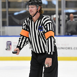 BUFFALO, NY - SEP 19,  2017: Ontario Junior Hockey League Governors Showcase game between the Pickering Panthers and the Georgetown Raiders, USHA Referee during the third period.<br /> (Photo by Andy Corneau / OJHL Images)