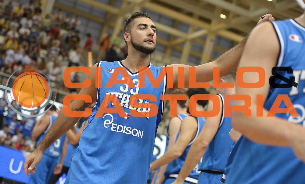 DESCRIZIONE : Trentino Basket Cup Italia-Polonia<br /> GIOCATORE : Pietro Aradori<br /> CATEGORIA : before<br /> SQUADRA : Nazionale Italiana<br /> EVENTO : Trentino Basket Cup<br /> GARA : Italia-Polonia<br /> DATA : 09/08/2013<br /> SPORT : Pallacanestro <br /> AUTORE : Agenzia Ciamillo-Castoria/R. Morgano<br /> Galleria : FIP nazionali 2013  <br /> Fotonotizia : Trentino basket cup Italia-Polonia<br /> Predefinita :