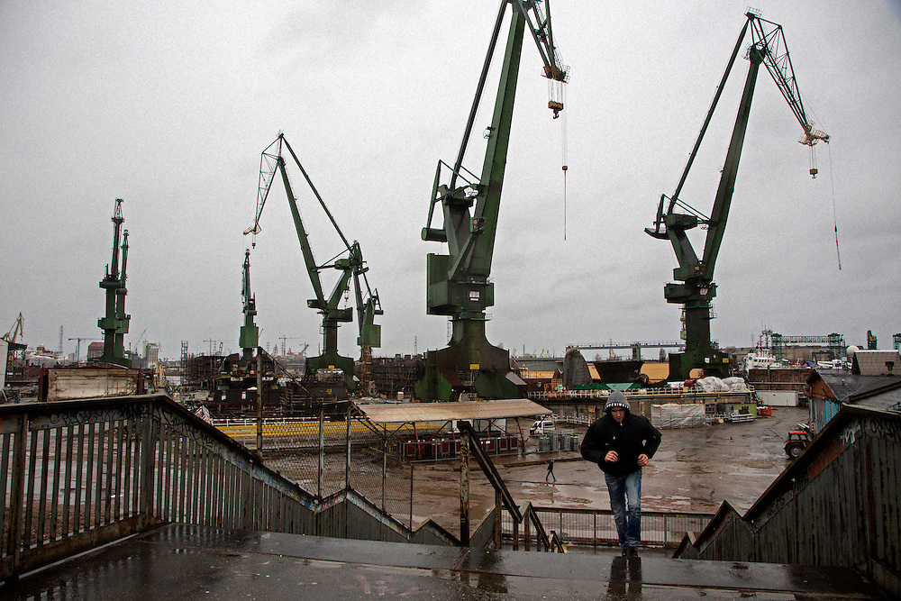 Iconic cranes near a pedestrian overpass<br /> <br /> Gdansk and Remontowa Shipyards