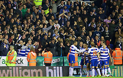 READING, ENGLAND - Tuesday, September 22, 2015: Reading's Nick Blackman celebrates scoring the first goal against Everton during the Football League Cup 3rd Round match at the Madejski Stadium. (Pic by David Rawcliffe/Propaganda)