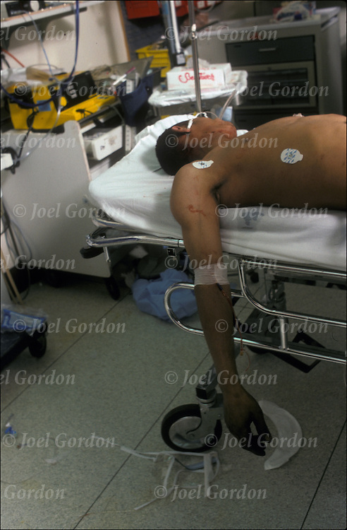 Victim of Crime in Trauma Emergence Room, ER doctors working on gunshot victim, but he  DOA in  Lincoln Medical & Mental Health Center -  Emergence Room (ER) - E 149th Street - South Bronx, NY