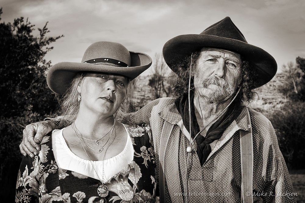 A serious pose of Lil Griz and Ballbreaker at one of Wyoming's annual Mountain Man Rendezvous.