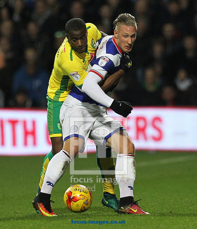 Sebastien Bassong of Norwich and Sebastian Polter of Queens Park Rangers in action during the Sky Bet Championship match at the Loftus Road Stadium, London<br /> Picture by Paul Chesterton/Focus Images Ltd +44 7904 640267<br /> 19/11/2016