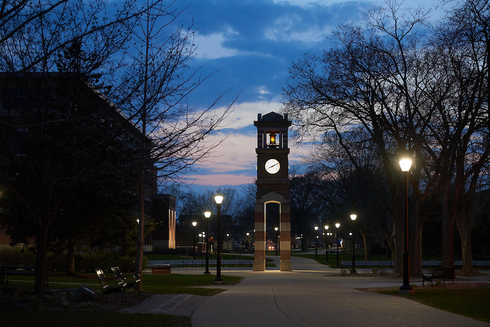 Buildings; Clock Hoeschler Tower; Location; Outside; Spring; April; Time/Weather; night; UWL UW-L UW-La Crosse University of Wisconsin-La Crosse