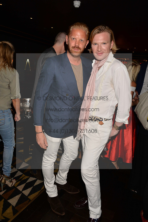 Alistair Guy and Henry Conway at the Quaglino's Q Legends Summer Launch Party hosted by Henry Conway at Quaglino's, 16 Bury Street, London England. 18 July 2017.<br /> Photo by Dominic O'Neill/SilverHub 0203 174 1069 sales@silverhubmedia.com