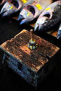 An auction bell sits atop an auctioneer's stool at the world's largest fish and marine products market in Tsukiji, Tokyo on Monday 30 March 2009.
