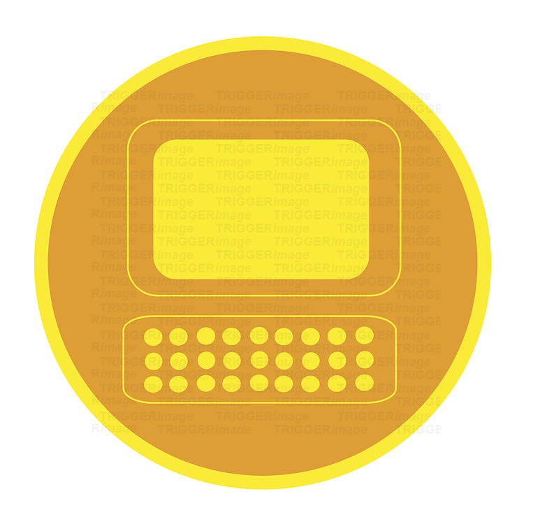 Graphic representation of computer screen and keyboard