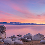 A panorama photo of sunset at Speedboat Beach at Lake Tahoe, ca.