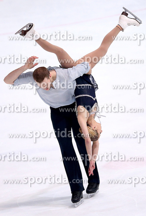 04.12.2015, Dom Sportova, Zagreb, CRO, ISU, Golden Spin of Zagreb, freies Programm, Paare, im Bild Tarah Kayne - Daniel O Shea, USA. // during the 48th Golden Spin of Zagreb 2015 doubles Free Program of ISU at the Dom Sportova in Zagreb, Croatia on 2015/12/04. EXPA Pictures &copy; 2015, PhotoCredit: EXPA/ Pixsell/ Igor Kralj<br /> <br /> *****ATTENTION - for AUT, SLO, SUI, SWE, ITA, FRA only*****